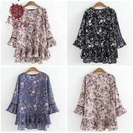 FP  Blause Women Muslimah Blaus Wanita Plus Saiz  Fashion Blouse Kembang Loose Ladies Baju  Floral  Casual Loose Flare  Sleeve Blouse Vintage Ruched Tops  T Shirt Murah Lengan Kembang Women  Clothing Baju Wanita Murah Blouse T-shirts Baju Bla