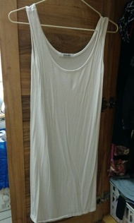 白 棉質  中長版  MUJI無印風  緊身 內搭 可當睡衣