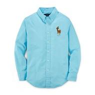 美國百分百【Ralph Lauren】RL 彩色 大馬 牛津 男 長袖 襯衫 polo 藍色 上衣 XS S號 G294
