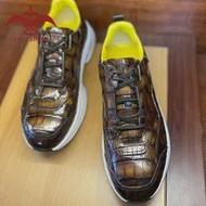 Vintage Retro รองเท้า100% Cro จระเข้รองเท้าหนังผู้ชายสุภาพสตรีรองเท้าผ้าใบรองเท้ารองเท้ารองเท้าที่กำห...