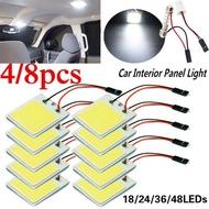 4/8 PCSรถอุปกรณ์ตกแต่งภายใน18/24/48 SMD T10 4W 12V COBรถภายในไฟLEDหลอดไฟรถโดมรถแผง