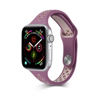 Sports thin silicone strap for Apple Watch 38mm 42mm 40mm 44mm, thin and breathable narrow mouth replacement strap wrist strap for i Watch series 5/4/3/2/1 men and women