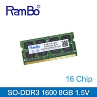 Rambo - 8GB DDR3-1600 SO DIMM 16-Chip 1.35-1.5V 記憶體 內存條 筆記本電腦適用 Notebook