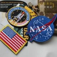 NASA美國太空總署刺繡臂章胸章太空飛行阿波羅航天飛機補丁魔術貼1入