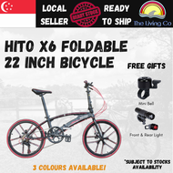 [Free Installation] HITO X6 Foldable Mountain Bicycle 22 Inch 7 Speed Lightweight Compact Foldable Pedal Shimano High Grade