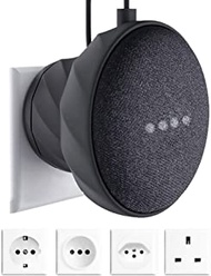 KIWI design Outlet Wall Mount Rubber Holder Compatible with Home Mini Nest Mini by Google, A Space-Saving Accessories Case for Home Mini Nest Mini Speaker(Black)