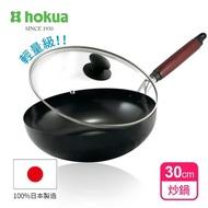 【日本北陸hokua】輕量級木柄黑鐵炒鍋30cm贈防溢鍋蓋(不挑爐具)