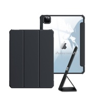 XUNDD軍事筆槽版 iPad Pro 12.9吋 2021/2020/2018版通用 休眠喚醒 磁吸支架平板皮套(極簡黑)