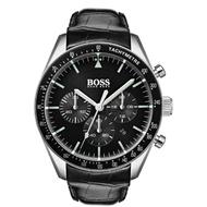 【HUGO BOSS】HB 黑色錶盤計時錶帶壓紋皮革錶帶 型號-1513625