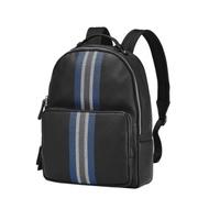 BENTLEY賓利 休閒條紋牛皮後背包-黑x藍線條