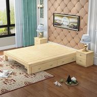 床架 現代簡約實木鬆木單人床雙人床架1.21.5榻榻米床1.8米原木無床頭JD 傾城小鋪