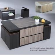 MUNA 冰川雙色黑天鵝梧桐5尺大茶几(含玻璃+椅×4) 150X75X51cm