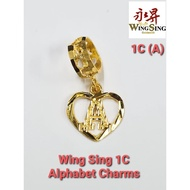 Wing Sing 916 Gold 1C Pandora Alphabet Charm Beads Pendant / Loket Huruf PDR A to Z Emas 916