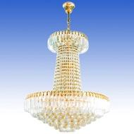 WH โคมไฟระย้า เม็ดคริสตัลสีทอง (ขนาด 100cm/80cm/60cm) ขั้ว E14 รุ่น WL-1085-KG-[1000-800-600]