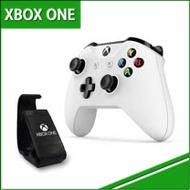【微軟Xbox One】原廠 無線藍芽控制器-白色 + 專用 手機直立放置架