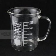 立聖實驗器材-玻璃有柄燒杯  低型燒杯  附握把燒杯   刻度咖啡杯(630元)