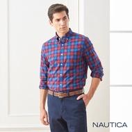 【NAUTICA】經典英倫格紋長袖襯衫(紅藍格)