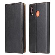 【Fierre Shann】真皮紋 Samsung A20/A30 錢包支架款 手工PU皮套保護殼(磁吸側掀 手工PU皮套)