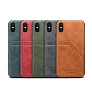 IPhone Max XS Max XR 8 7 Plus SE2 2020 牛皮仿真皮保護殼車縫貼皮雙插卡手機殼背蓋