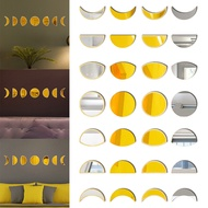 Crescent Wall Mirror Stickers Wall Sticker Wood Acrylic Gold Silver Mirror Removable Decal
