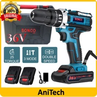 SONCO 36V Cordless Hammer Drill Impact Drill Driver Drill Screwdriver 3 Mode 2 Speed Buka Pasang Skrew Battery Cordless Drill 36V Screwdriver Drill Rechargeable 2 Speed 3 Mode Cordless Electric Hand Drill
