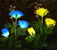 AB AttaBoy Solar Garden Rose Light, Solar Powered Garden Flower Lights, Waterproof LED Outdoor Solar Rose Stake Light for Garden, Courtyard,Backyard Decoration (2 Pack, Blue&Yellow)