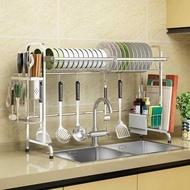 收納架 304不鏽鋼水槽晾碗架瀝水架廚房置物架2層用品收納水池放碗碟架子