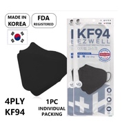 [READY STOCK] EZWELL Korea Adult KF94 Face Mask/4 Ply/3D/Made in Korea/Individual Pack