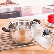 304不銹鋼雙耳小奶鍋小蒸鍋煲湯鍋具電磁爐燃氣通用火鍋