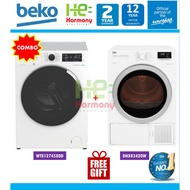 Beko 12kg Front Load Washer WTE12745X0D + Beko Heat Pump Dryer Package DPS7405XW3/ DHX83420W/ DS8433RX1M + Free Gift