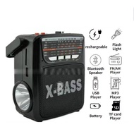 kuku Rechargeable AM/FM Radio with wireless bluetooth speaker USB/SD Music Player