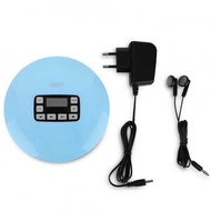LCD Portable AUX CD Player + Headphone for MP3/CD/CD-R/CD-RW Disk Light Blue (EU Plug)