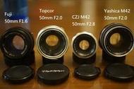 50mm 鏡頭 A.TOPCON UV F2.0。 B.Fujinon 。C.Yashica D CZJ.