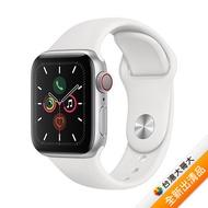 【贈品組】Apple Watch Series 5 GPS + LTE 版 44mm 銀色鋁金屬錶殼配白色運動錶帶 (MWWC2TA/A)【全新出清品】