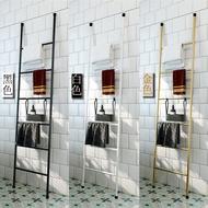 北欧铁艺梯子毛巾架浴室落地浴巾收纳架靠墙挂衣架衣帽架装饰摆件
