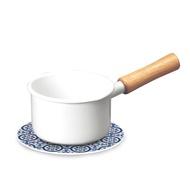 琺瑯單柄牛奶鍋12cm+自然風陶瓷鍋墊-花磚織紋