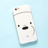 We Bare Bears Transparent Clear iPhone Casing 8 / 7 / 6S / 6 Plus Phone Case Back Cover Protector Ic