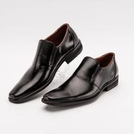 รองเท้าคัทชู รองเท้าคัชชูผู้ชาย คัชชูสีดำ คัทชูสวมหนังแท้ หัวแหลมปลายตัดหนังวัวแท้สวมใส่ทำงาน สำคัญ การันตีหนังแท้แน่นอน สีดำ