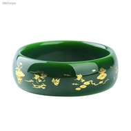 bangles for women۞❅Natural authentic Xinjiang Hetian green jade bracelet with spinach trace gold an