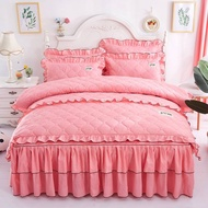 床包/四件組/兩用被/被套/床單/被單/保潔墊/單人/雙人全夾棉床裙四件套加厚被套韓版蕾絲夾棉床罩單雙人結婚床上用品