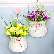 Dinding Tergantung Keranjang Bunga Bunga Tiruan Set Dinding Tergantung Plastik Bunga Palsu Ruang Tamu Dalaman Muka Dinding Hiasan Tergantung Keranjang Bunga Hiasan Bunga
