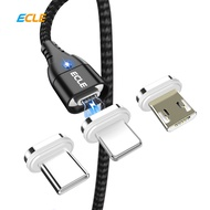 ECLE Kabel Data Magnetic 3A Fast Charging. Connector 3 in 1 All Type, Micro USB / Lightning / Type C