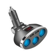1 ถึง 3 ซ็อกเก็ต DC 12/24 V รถเต้ารับที่จุดบุหรี่ Splitter HUB Dual USB ที่ชาร์จแบตในรถอะแดปเตอร์ไฟฟ้าพร้อม ON/OFF สวิทช์และจอแสดงแรงดันไฟฟ้า Fast CHARGING สำหรับโทรศัพท์มือถือแท็บเล็ต iPhone iPod Pad GPS (สีดำ)