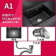 水槽 洗菜盆雙槽廚房手工納米水槽304不銹鋼洗碗槽水池家用黑色池『SS3070』