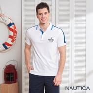 Nautica織帶拼接短袖POLO衫-白色