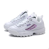 FILA 版型偏小 老爹鞋 白 雷射紫LOGO 鋸齒鞋 女 (布魯克林) 5C608U153