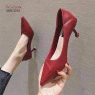 รองเท้าคัชชูส้นสูงหัวแหลมแบบสวมนำเข้า MJB-2534