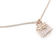【HERMES】Rose Gold Diamond Kelly 玫瑰金鑲鑽短項鍊