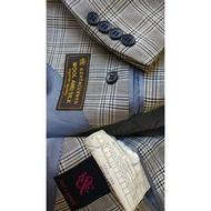 英國經典【KENT & CURWEN】(K & C) 威爾斯細格紋單排三扣西裝上衣