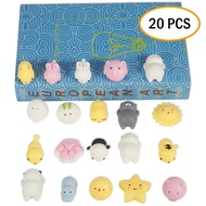 20Pcs/Set Mini Mochi Squishy Animals Panda Cat Stress Reliever Anxiety Toy for Children Adults
